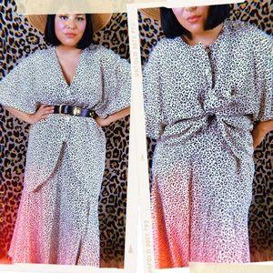 Vtg 80s Cheetah Animal Print Blouse Skirt Set M L